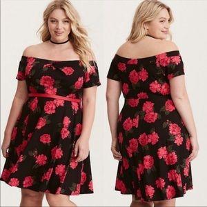 Black & Red Rose off the shoulder dress